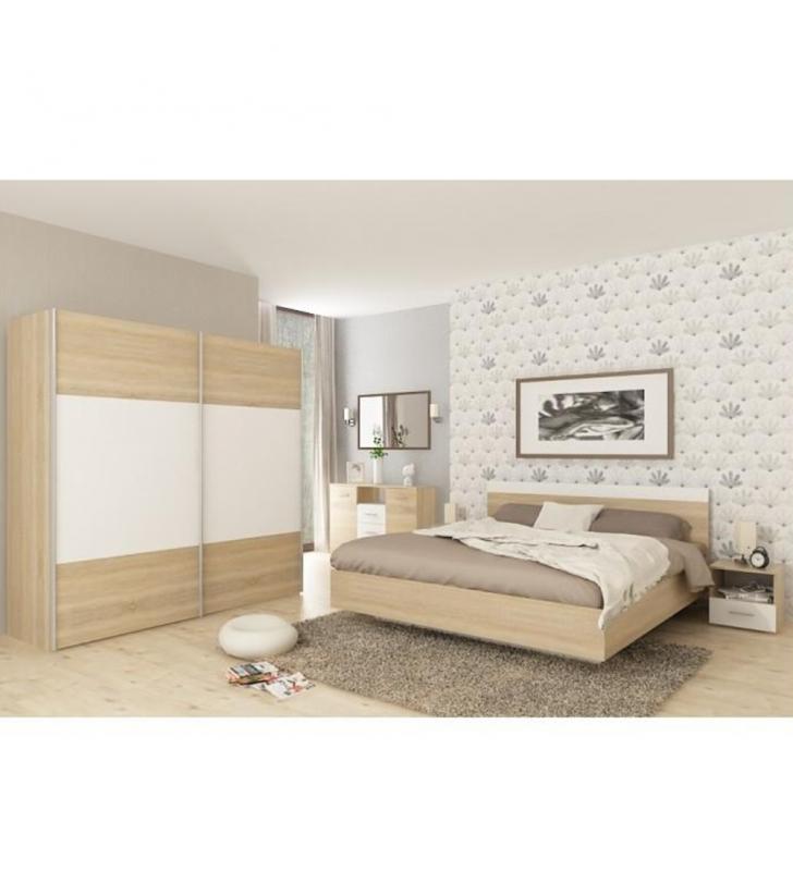 Hálószoba garnitúra (ágy 160x200 cm), tölgy sonoma/fehér, GABRIELA