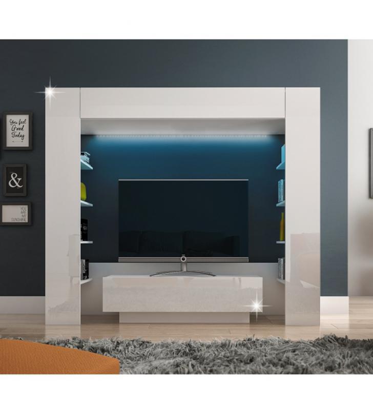 Luxus TV és médiafal, fehér/fehér extra magasfényű, MONTEREJ