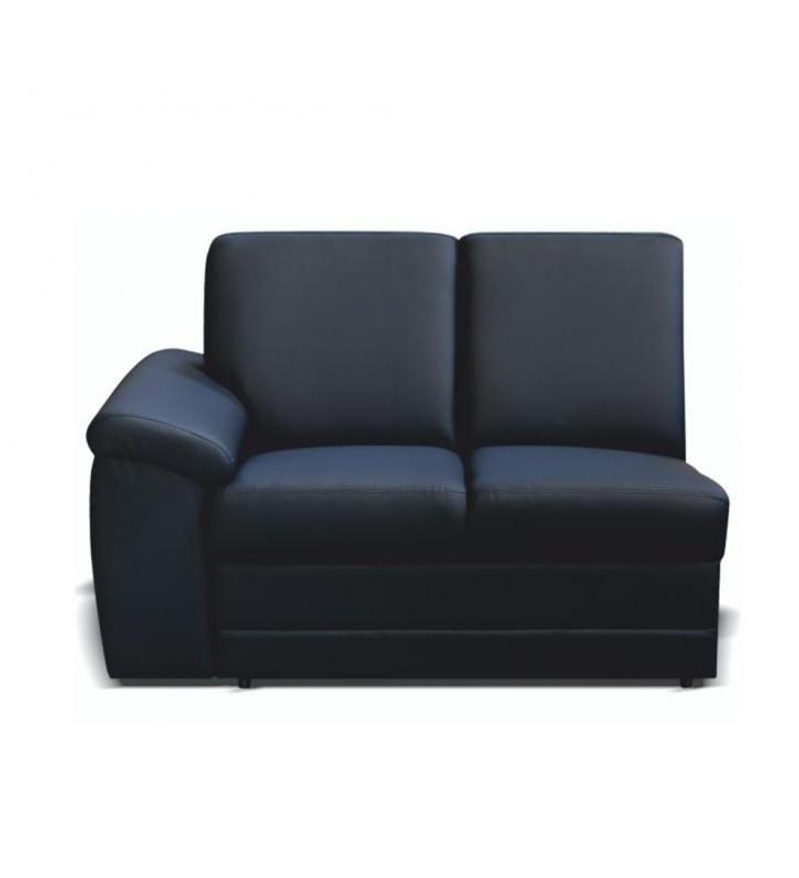 2-személyes kanapé támasztékkal, textilbőr fekete, balos, BITER 2 1B