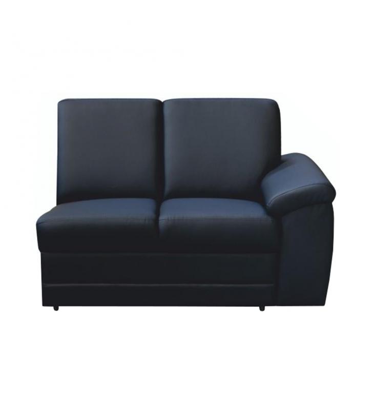 2-személyes kanapé támasztékkal, textilbőr fekete, jobbos, BITER 2 1B