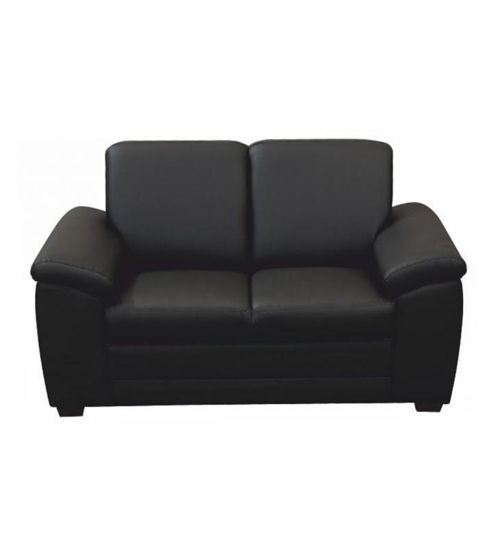 2-személyes kanapé támasztékokkal, textilbőr fekete, BITER