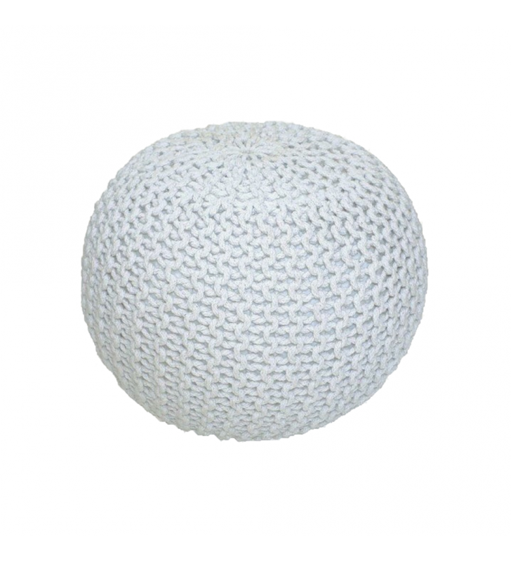 Kötött puff krémfehér (fehér melír) pamut, GOBI TIP 1