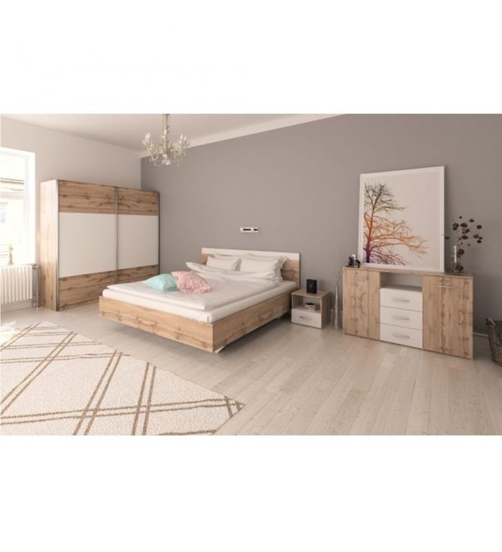 Hálószoba garnitúra (Ágy 160x200 cm), tölgy wotan/fehér, GABRIELA