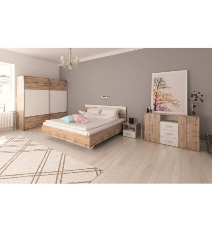 Hálószoba garnitúra (Ágy 180x200 cm), tölgy wotan/fehér, GABRIELA