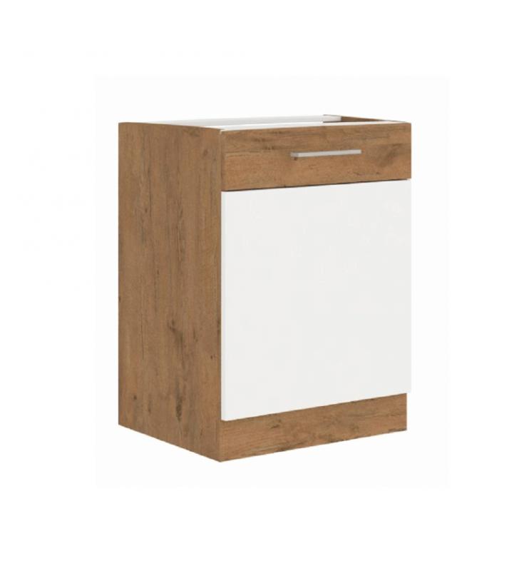 Alsó szekrény, lancelot tölgy/ fehér extra magas fényű HG, VEGA D60 1F BB