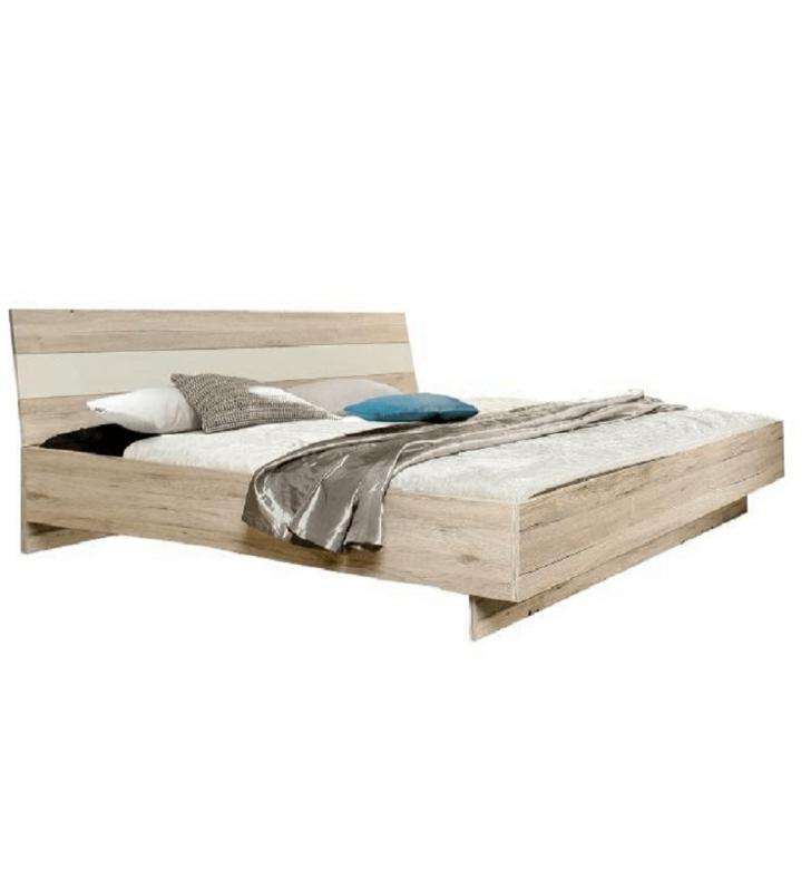 Ágy 180x200, homok tölgy / fehér, VALERIA