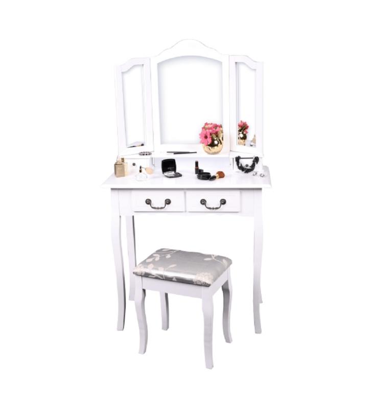 Fésülködőasztal zsámollyal, fehér/ezüst, REGINA NEW