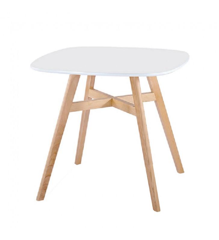 Étkezőasztal, fehér/természetes fa, DEJAN 2 NEW