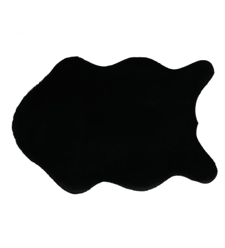 Műszőrme, fekete, 60x90, RABIT NEW  TYP 1
