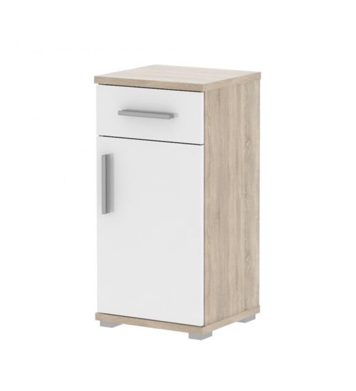Alsó fürdőszoba szekrény, fehér féligfényes / sonoma, LESSY LI 03