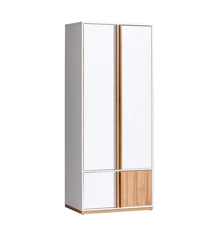 2-ajtós szekrény, dió select/fehér, KNOX E1