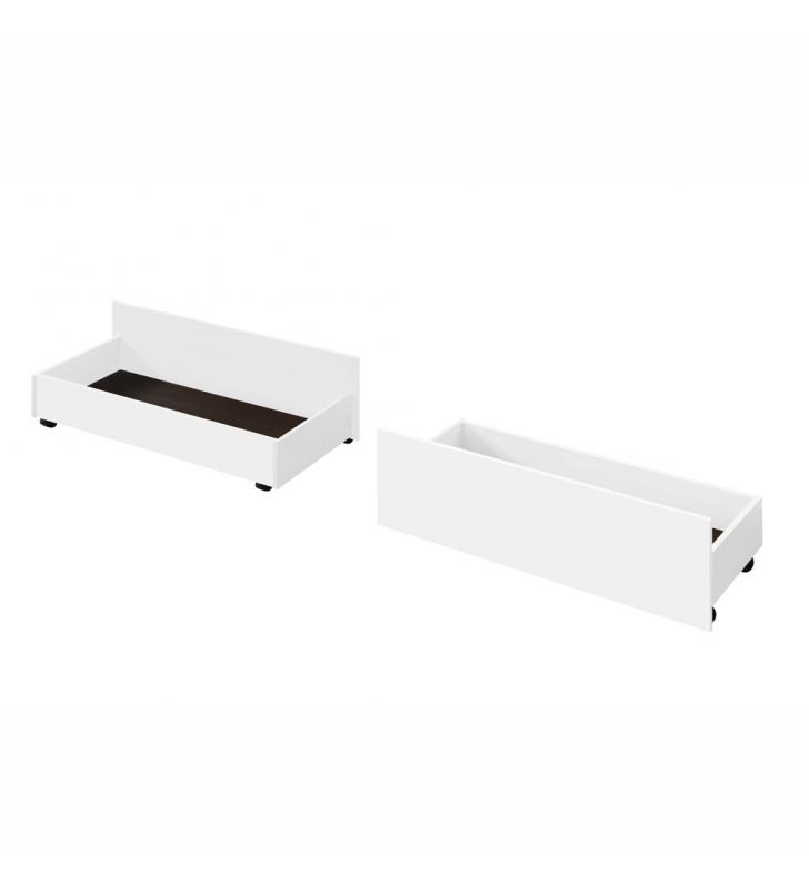 2 darab, kihúzható ágy alatti tároló, fehér, MIDEA
