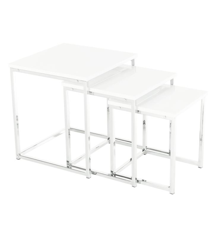 3 dohányzóasztal szett, fehér extra magasfényű, ENISOL TYP 3