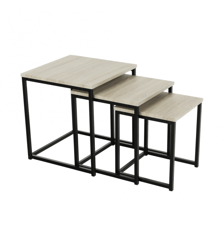 3 részből álló dohányzóasztal, sonoma tölgy/fekete, KASTLER TYP 3