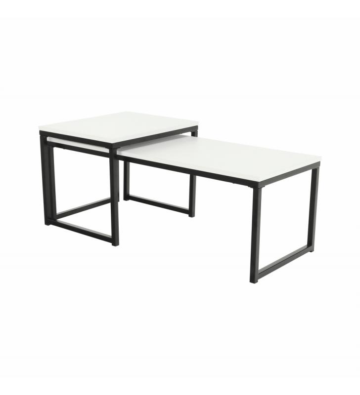 2 dohányzóasztal szett, matt fehér/fekete, KASTLER TYP 2