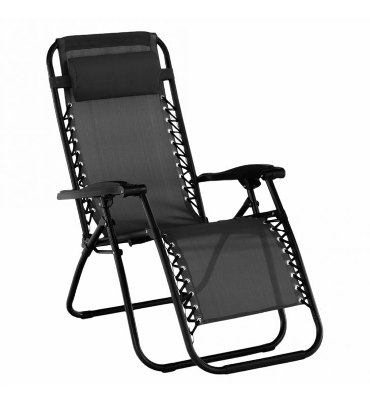 Állítható kerti szék, fekete, GERALD