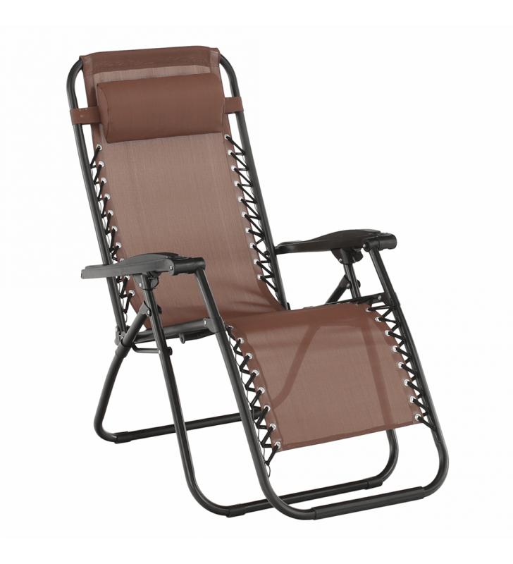 Állítható kerti szék, világosbarna, GERALD