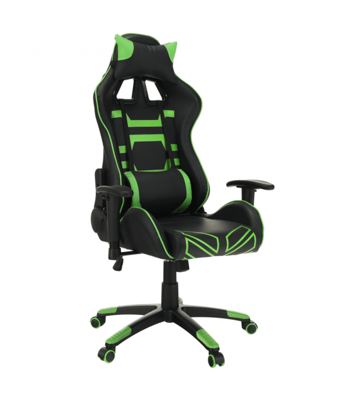 Irodai/gamer fotel, fekete/zöld, BILGI