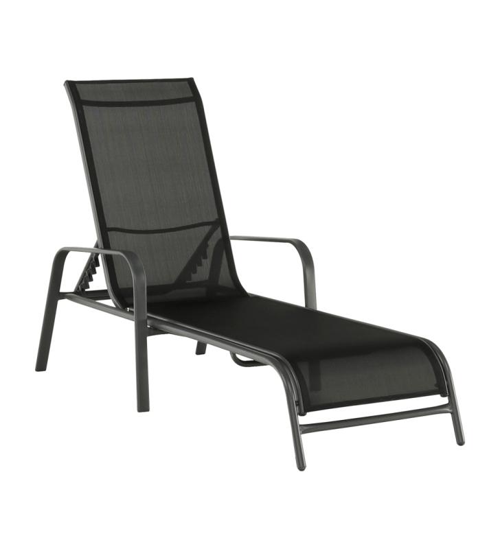 Állítható kerti szék, fekete/szürke, ATREO
