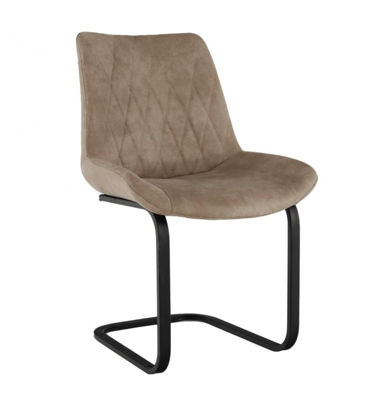 Étkező szék, barna anyag csiszolt bőr hatással, DENTA