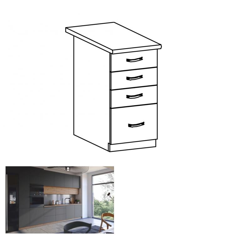Alsó szekrény, artisan tölgy/szürke matt, fogantyúkkal, LANGEN D40S3
