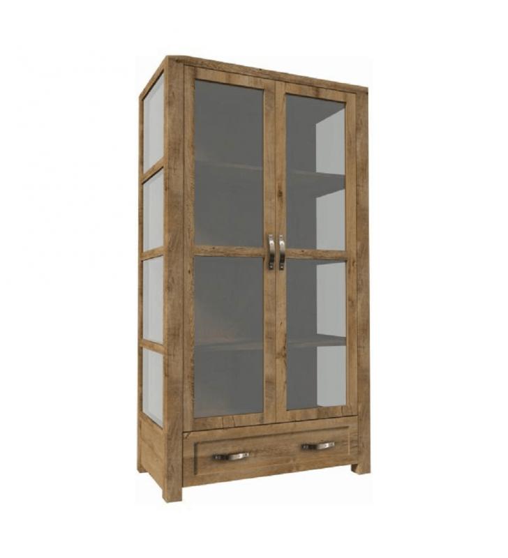 Háromoldalú vitrín szekrény W2D , tölgyfa, NEVADA