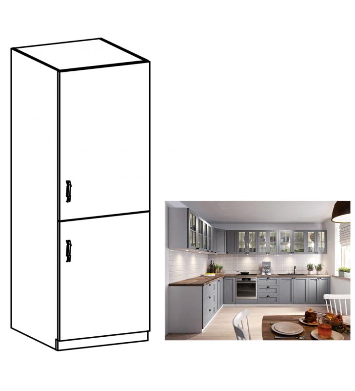 Szekrény beépíthető hűtőre, szürke matt/fehér, jobb, LAYLA D60ZL