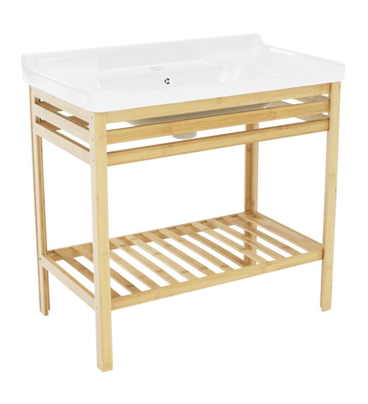 Asztal kerámia mosdóval, természetes/fehér, SELENE TYP 6