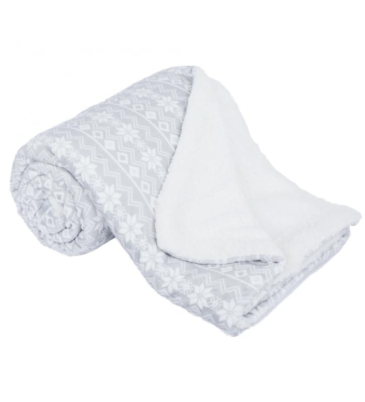 Kétoldalas bárány takaró, szürke/fehér/minta, 150x200, MARITA