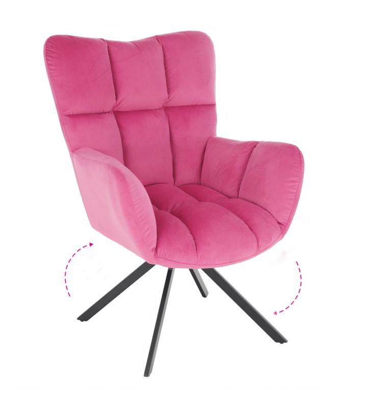 Dizájnos forgószék, rózsaszín színű Velvet anyag/fekete, KOMODO