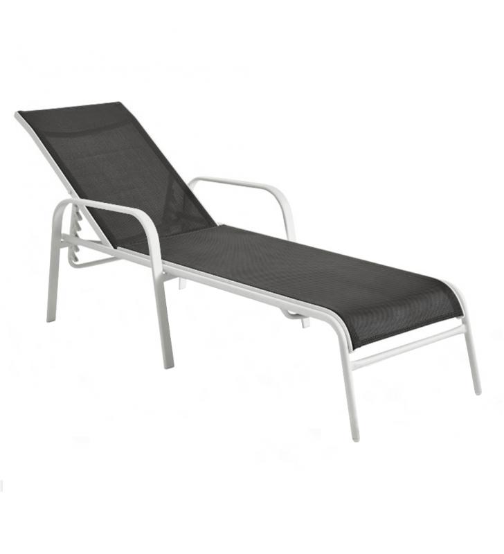 Állítható kerti szék, szürke/féher, ATREO