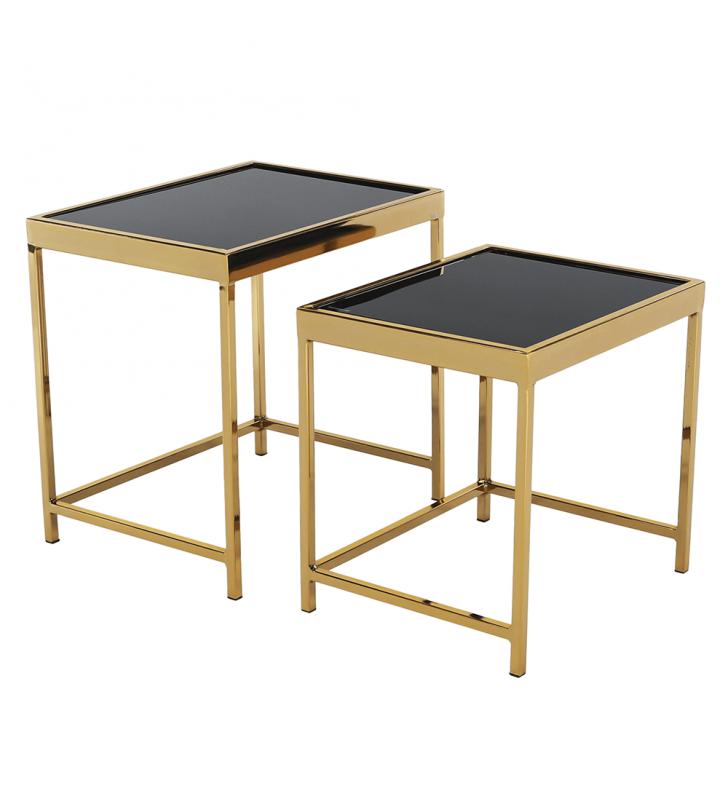 2 darabos dohányzóasztal készlet, gold króm arany/fekete, VITOR